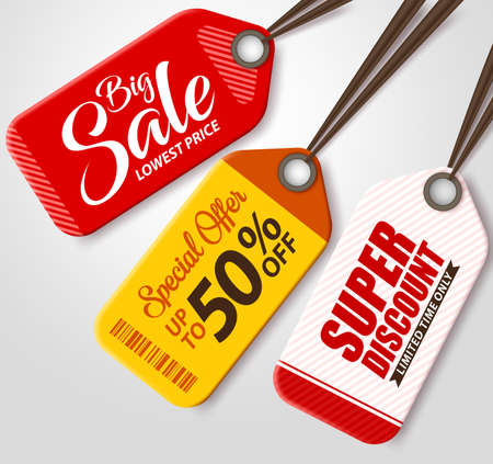 Vector Sale Tags Set with Different Colors Hanging in White Background for Promotions and Discounts. Vector Illustration