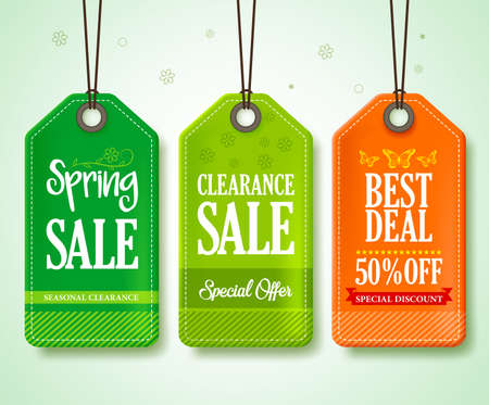 spring sale: Spring Sale Tags Set for Seasonal Store Promotions Hanging in Floral Background with Green and Orange Colors. Vector Illustration.