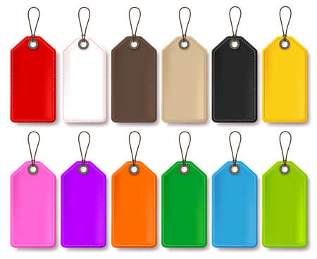Colorful Vector Price Tags Collection Isolated in White Background for Store Promotional Templates with Empty Space for Text. Vector Illustration.
