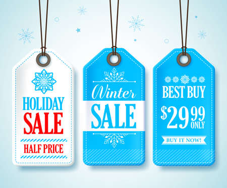 winter colors: Winter Sale Tags Set for Seasonal Store Promotions Hanging in Snow Background with Blue and White Colors. Vector Illustration.