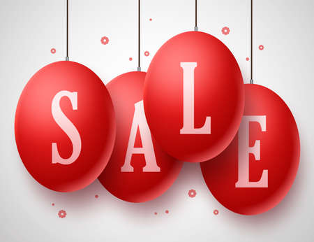 Vector Sale Red Eggs with strings hanging in white background for Easter and store promotions. Vector illustration.