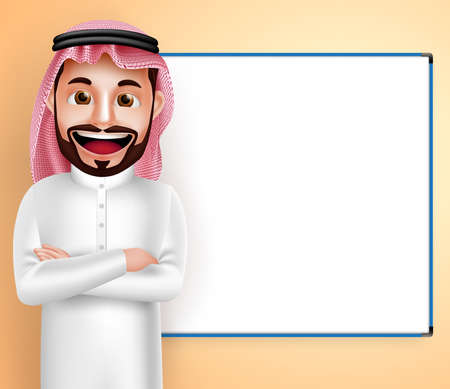 thobe: Saudi arab man vector character wearing thobe speaking with blank white board in the background. Vector illustration.