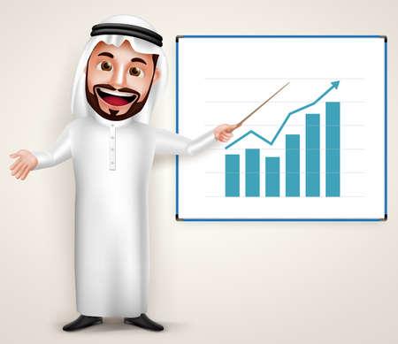 thobe: Professional Saudi Arab man vector character wearing thobe teaching chart graph in white board. Vector illustration.