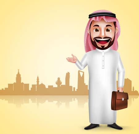 thobe: Saudi arab man vector character wearing thobe showing city landmark in silhouette of Saudi Arabia for travel and tourism. Vector illustration.