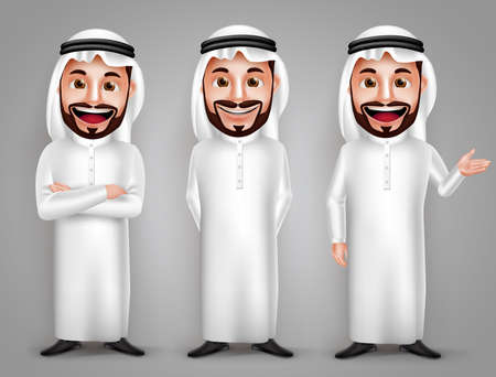 Saudi arab man vector character set with different friendly gesture and professional pose for business purpose. Vector illustration. Vettoriali