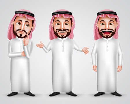 caractère homme vecteur arab Arabie fixé portant thobe et gutra avec différents geste amical comme penser, de parler et de présenter. Vector illustration.
