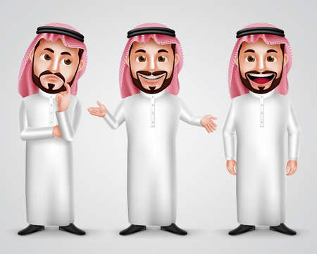 Saudi arab man vector character set wearing thobe and gutra with different friendly gesture like thinking, speaking and presenting. Vector illustration. Ilustração
