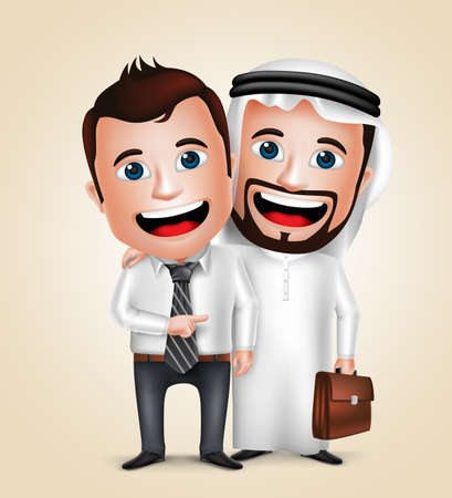 happy business man: Arab man and businessman vector characters happy business partners showing friendship. Vector illustration. Illustration