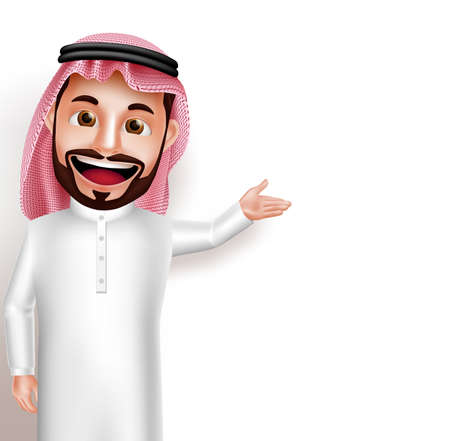 Saudi arab man vector character wearing thobe happy showing empty white space for message and text. Vector illustration. Vettoriali