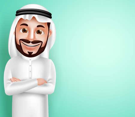 Saoedi-Arabische mens vector karakter draagt thobe tevreden stellen met lege ruimte op de achtergrond voor de inhoud van de tekst. Vector illustratie. Stock Illustratie