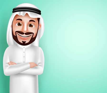 Saudi arab man vector character wearing thobe happy posing with blank space in the background for text contents. Vector illustration. Illustration