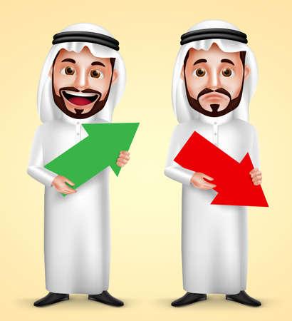Arabia árabe del carácter del hombre del vector con un vestido tradicional blanco con expresiones faciales celebración de flecha arriba y abajo para el gráfico de las finanzas del negocio. Ilustración del vector. Ilustración de vector