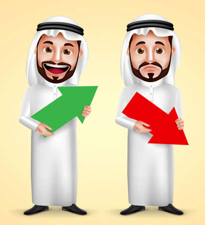 Saudi arab man vector character wearing white traditional dress with facial expressions holding up and down arrow for business finance graph. Vector illustration.