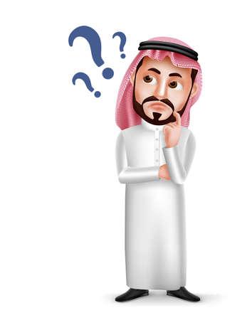 Saoedi-Arabische mens vector karakter dragen thobe met verwarde of denken gelaatsuitdrukking geïsoleerd in een witte achtergrond. Vector illustratie.
