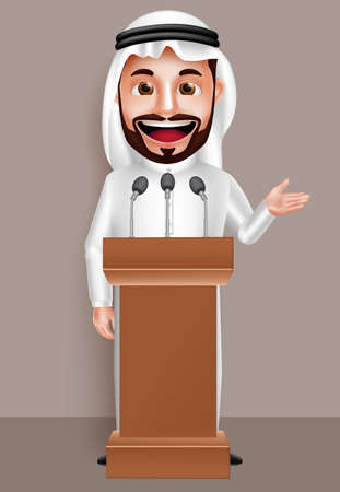 Saudi arab man vector character wearing thobe with a happy smile while talking with microphone in conference. Vector illustration.