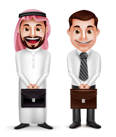 thobe: Saudi arab man and a businessman vector characters holding briefcase with a friendly smile isolated in white background. Vector illustration.