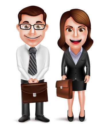 formal dress: Business man and woman vector characters holding briefcase wearing formal corporate dress isolated in white background. Vector illustration.