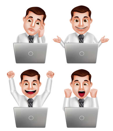 watching: Handsome professional man vector character set with different actions and facial expressions watching in front of laptop isolated in white background. Vector illustration.