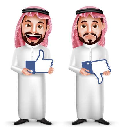 Saudi-arabischer Mann Vektor-Zeichen mit Mimik halten mögen und nicht mögen Zeichen Symbol für Social Media in weißem Hintergrund. Vektor-Illustration.