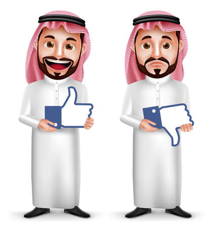 Saudi arab man vector character with facial expressions holding like and dislike sign icon for social media isolated in white background. Vector illustration.