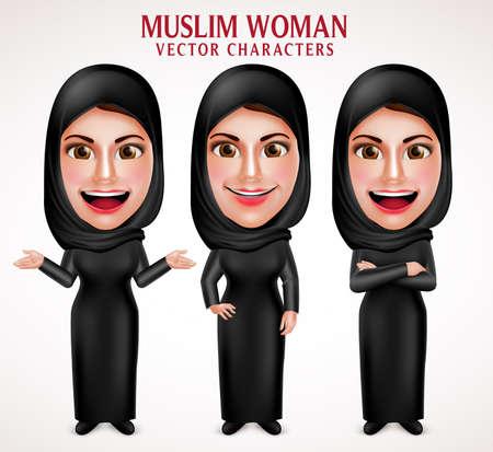 Moslim vrouw vector tekens Set dragen hijab zwarte kleding met verschillende houding en handgebaren in een witte achtergrond. Vector illustratie.