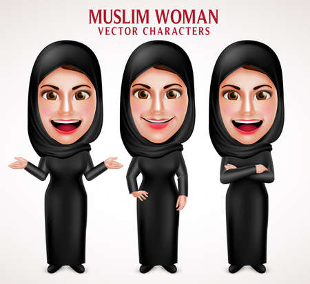 Muslim woman vector characters set wearing  hijab black clothes with different pose and hand gestures in white background. Vector illustration.