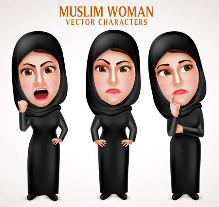 veil: Angry muslim arab woman vector characters with facial expressions wearing veil and islamic clothes in white background. Vector illustration.