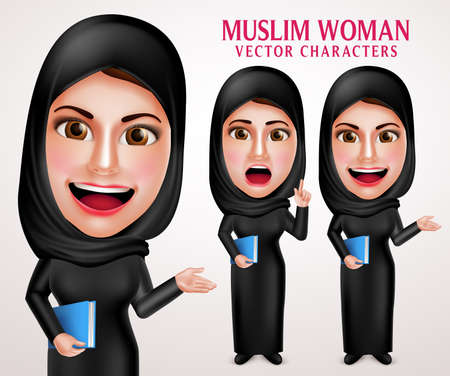 white smile: Muslim woman vector character set holding book with friendly smile wearing hijab and islamic clothing standing in white background. Vector illustration.