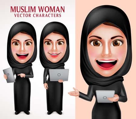 Moslimvrouw vector teken set bedrijf laptop en tablet met een vriendelijke mooie glimlach het dragen van hijab en islamitische kleding die zich in een witte achtergrond. Vector illustratie.
