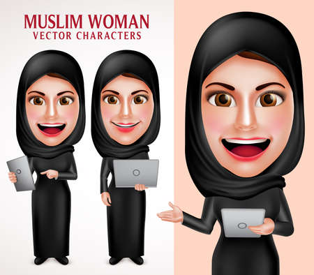 white smile: Muslim woman vector character set holding laptop and tablet with friendly beautiful smile wearing hijab and islamic clothing standing in white background. Vector illustration.