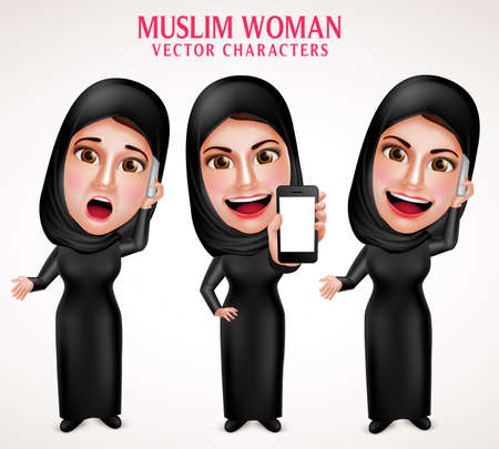 calling on phone: Muslim woman vector character set holding mobile phone and calling with friendly beautiful smile wearing hijab and islamic clothing standing in white background. Vector illustration. Illustration