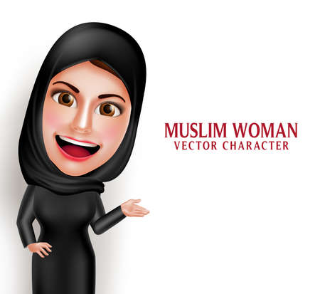 Muslim woman vector character presenting in empty white space with friendly beautiful smile wearing hijab and islamic clothing standing in white background. Vector illustration.