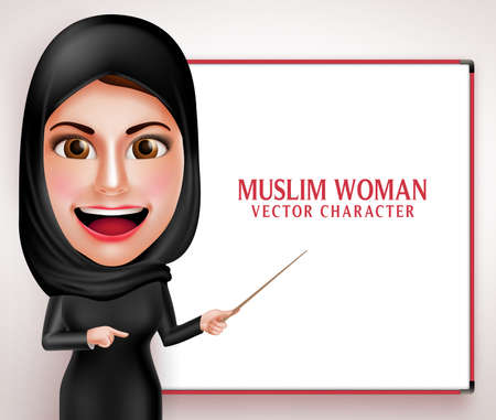 Muslim woman vector character presenting or teaching in white board with friendly beautiful smile wearing hijab and islamic clothing.  Vector illustration.