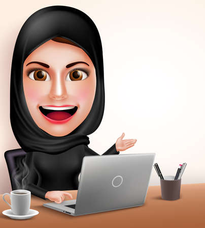 Muslim arab woman vector character as professional working with laptop in office desk showing white space with friendly smile. Vector illustration.