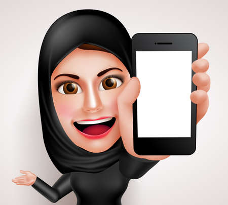 middle eastern: Arab muslim woman vector character holding mobile phone with blank screen while talking like professional showing contents. Vector illustration.