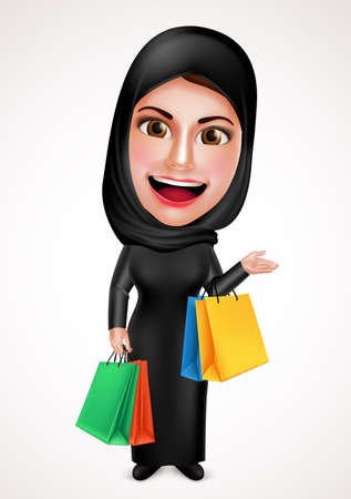 beautiful smile: Female muslim arab vector character holding shopping bags wearing hijab and islamic dress with friendly beautiful smile in white background. Vector illustration. Illustration