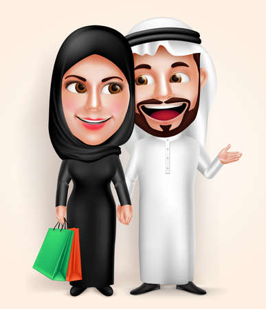 Muslim arab young couple vector characters wearing traditional emirati dress happy holding hands while holding bags and shopping. Vector illustration.