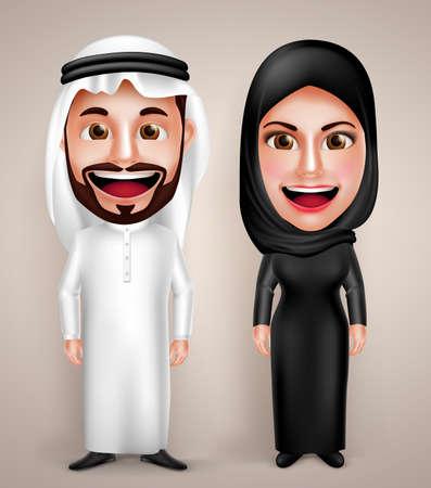 man full body: Muslim arab man and woman vector character wearing arabic traditional abaya and thawb dress with friendly smile. Vector illustration.