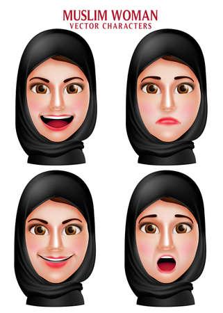 fille arabe: femme musulmane caractères vecteur ensemble de la tête portant le foulard hijab ou la tête avec l'expression du visage isolé dans un fond blanc. Vector illustration