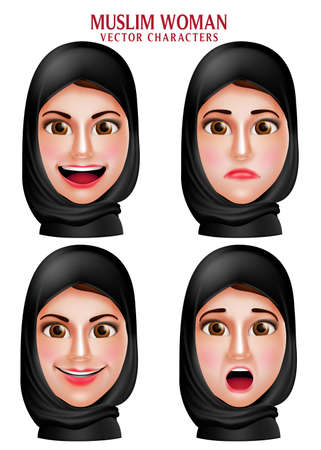 arabic woman: Muslim woman vector characters set of head wearing hijab or head scarf with facial expression isolated in white background. Vector illustration