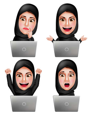 woman in scarf: Muslim arab woman vector characters set working with laptop wearing hijab or head scarf with facial expression isolated in white background. Vector illustration. Illustration