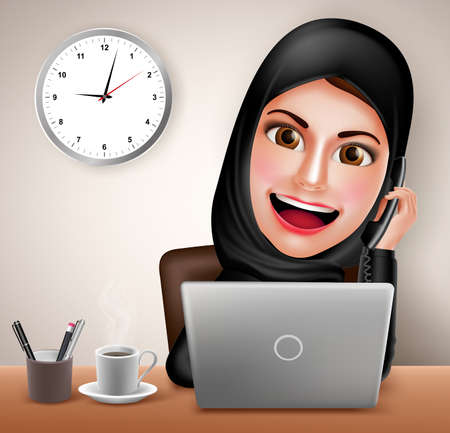 overtime: Female muslim arab vector character happy working in office desk with laptop holding telephone and calling wearing black islamic dress. Vector illustration.
