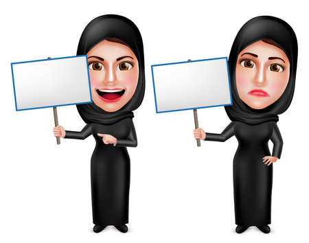 muslim: Female muslim arab vector characters holding white empty placard sign wearing black dress with happy and sad facial expressions isolated in white. Vector illustration