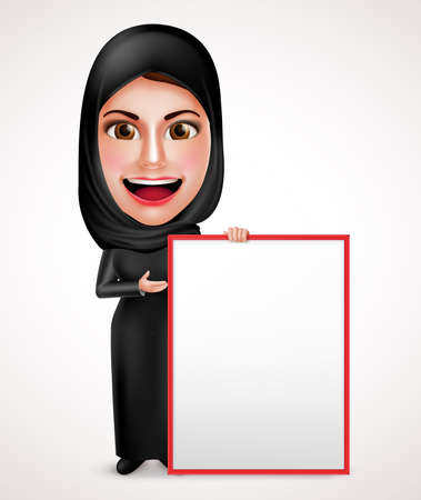 white smile: Female muslim arab holding and presenting an empty white board for messages wearing abaya with happy smile in white background. Vector illustration. Illustration