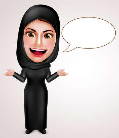 Vrouwelijke moslim Arabische praten en presenteren met lege tekstballonnen dragen abaya en sluier met een vriendelijke glimlach.