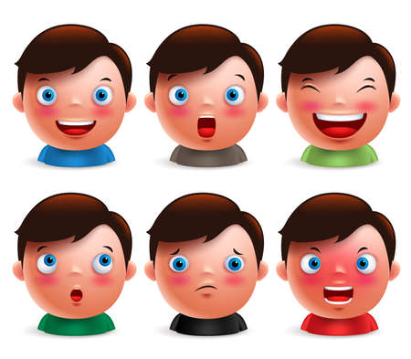 Young boy kid avatar facial expressions set of cute emoticon heads vector characters isolated in white background. Vector illustration.