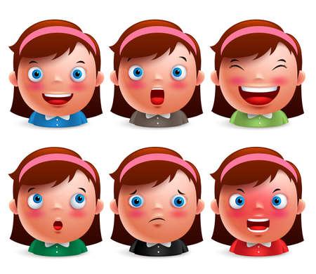 expresiones faciales: avatar chico expresiones faciales de la chica joven del emoticon lindo caracteres cabezas aisladas de vectores en el fondo blanco. Ilustración del vector.
