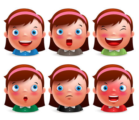 Young girl kid avatar facial expressions set of cute emoticon heads vector characters isolated in white background. Vector illustration.