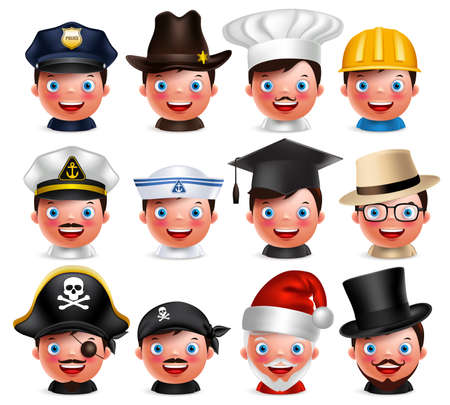 Profession avatar set of happy emoticon heads with different hats of police, seaman, magician, santa claus and pirate isolated in white background. Vector characters.