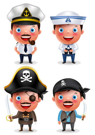 ship captain: Ship captain, seafarer and pirates vector character set with uniform, holding sword and smiling isolated in white background. Vector illustration. Illustration